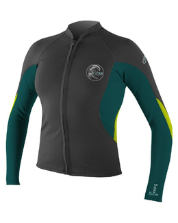 O'Neill Women's Bahia Full-Zip Jacket Wetsuit Top Graphite Front
