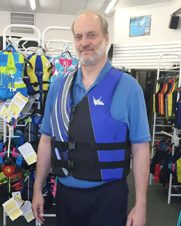 HO Sports Tall Life Vest on 6 ft 8 in Tall customer 280lbs