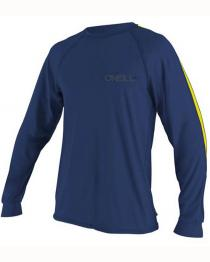 oneill 24/7 mens long sleeve rashguard shirt blue with yellow