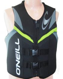 ONeill Reactor Mens Neoprene Life Vest Back/Lunar/Yellow 2019 FRONT VIEW