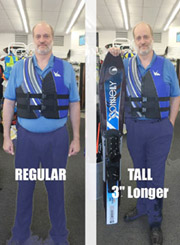 HO Sports Regular Life Jacket vs TALL life jacket